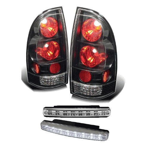 Carpart4U Toyota Tacoma Euro Style Black Tail Lights & Led Day Time Running Light Package