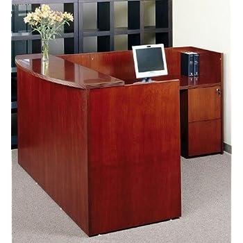 "Mayline L Shaped Reception Desk W/Wood Veneer Dimensions: 72""W X 84""D X 42""H Includes One Pedestal W/Two File Drawers & One Pedestal W/Two Box File Drawers & One File Drawer W/Lock - Cherry"