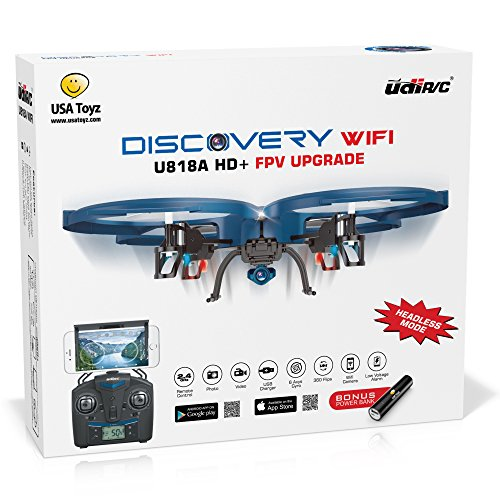 UDI-U818A-WiFi-FPV-RC-Quadcopter-Drone-with-HD-Camera-VR-Headset-Compatible-Headless-Mode-Low-Voltage-Alarm-Gravity-Induction-Includes-BONUS-BATTERY-Power-Bank