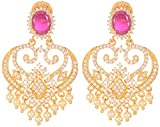 Violet and Purple Alloy Gold Plated Dangle and Drop Earrings for Women (1000030923)