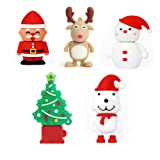 USB Flash Drive Christmas Thanksgiving Gifts Memory Stick Santa Claus, Christmas Tree, Elk,Snowman, Dog (Pack of 5 32GB) (Color: 5xChristmas, Tamaño: 32GB)