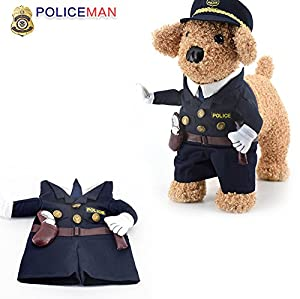 Idepet(TM) Pet Dog Cat Costume Cool Police Uniform with Hat Cute Pet Policeman Outfit Clothing