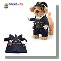 Idepet(TM) Pet Dog Cat Costume Cool Police Uniform with Hat Cute Pet Policeman Outfit Clothing (2)