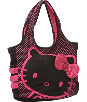 Hello Kitty Black Tote: Pink Sequin