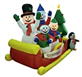 8' Airblown Inflatable Snowman Family Sleigh Lighted Christmas Yard Art Decor