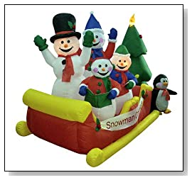 Blow Up Snowman Family Sleigh