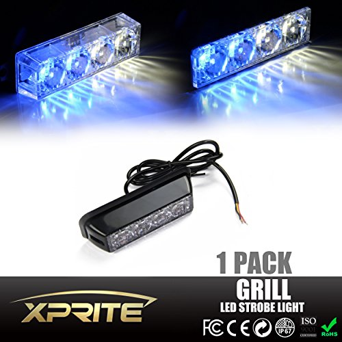 Xprite White & Blue 4 LED 4 Watt Emergency Vehicle Waterproof Surface Mount Deck Dash Grille Strobe Light Warning Police Light Head with Clear Lens (Police Blue White Lights compare prices)