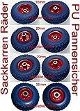 2 Stück PU-Räder 260 mm mit Kugellager Sackkarrenrad Bollerwagenrad Vollgummi pannensicher (20mm symmetrisch)