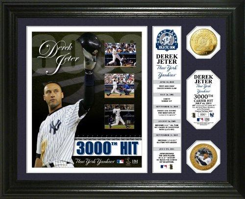 MLB New York Yankees Derek Jeter 3,000th Hit Banner 24KT Gold Coin Photo Mint
