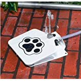 Jumbl Automatic Dog Waterer/Water Sprinkler Dispenser Fountain for Outdoor Use - Fresh Clean Water Always - w/3 Way Spliter - 2 Hose Clamps Included - Made of Premium Steel