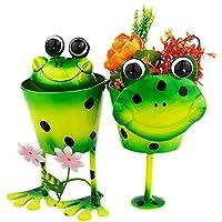 Green Girgit Metal Double Frog Planter, 27 Cm X 14.5 Cm X 24.5 Cm, 1 Piece