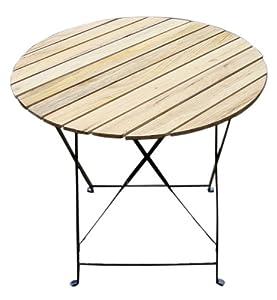 Table De Jardin Bistrot Pliante Ronde 75cm M Tal Bois Beige Jardin