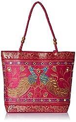 Womaniya Ethnic traditional Handicraft Handbag for Women Girl (Pink)