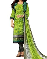 Jinaam Women's Cotton Unstitched Dress Material (jess 31_Yellow Green_Free Size)