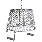 Large Rustic Hanging Metal Bucket Triple Tealight Candle Holder for Garden or Home