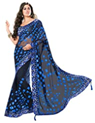 Black And Blue Net Saree With Blouse
