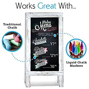 Chalkboard A-Frame with Rustic Vintage Gray Wash Frame Sandwich Board | 20in x 40in Blackboard | Great Chalk Board Sign. Use for Sidewalk Menu, Home, Restaurant, Kitchen Decor (20