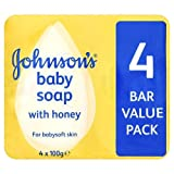 Johnsons Baby Soap With Honey Pack of Four x 100g TRAVEL SIZE SOAPS BARGAIN