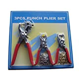XHSP 3pcs Punch Pliers Set Shoe Brass Eyelets Setting Plier Leather Belt Hollow Hole Punches Red (with 200pcs Eyelets) Red