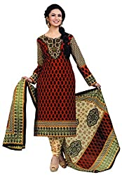 Salwar Studio Red & Beige Cotton Paisely, Floral Printed Dress Material SHREEGANESH-940
