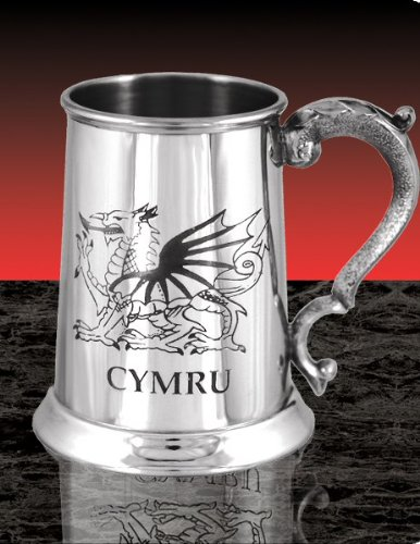 Personalised Engraved Pewter 1 Pint Tankard, Welsh Cymru, Wedding Gift, Free Engraving