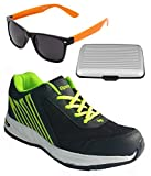 Spot On Men's Black Green Running Shoes With Lotto Sunglasses And Cardholder Combo UK-6