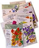 """""""Cooks and Gardeners"""" Edible Flowers to Grow and Eat 10 Seed Packets By Botanical Interests in Gift Box"""