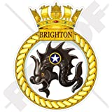 "HMS BRIGHTON Badge, Emblem British Royal Navy Frigate F106, UK 4"" (100mm) Vinyl Sticker, Decal"