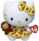 TY 7142088 - Hello Kitty Baby - Safari, gelbes Kleid mit braunen Tatzen und kleiner Affe, Beanie Babies, 15 cm