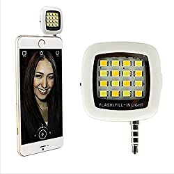 16 LED Night Light Using Selfie Enhancing Dimmable Flash Cellphone Camera Flash Fill-in Light Pocket Spotlight Photo Speedlight for iPhone 6plus/6/5s/5/4s/4/, Samsung Galaxy S6 Edge/S6/S5/S4/S3/A7/A5, Galaxy Note 4/3/2, Blackberry Android Smartphone Tablets Camera iPhone (White)