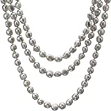 "HinsonGayle AAA Handpicked 10-11mm Ultra-Iridescent Gray Baroque Freshwater Cultured Pearl Rope Necklace (65"" Strand)"