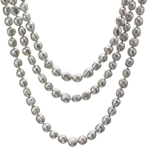 HinsonGayle AAA Handpicked 10-11mm Iridescent Silver Gray Baroque Freshwater Cultured Pearl Rope 65