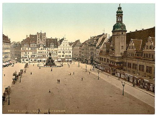 GIANT Wall Sticker of: Market place and Hotel de Ville, Leipsig (i.e., Leipzig), Saxony, Germany wall sized poster (photochrom) photochrome measured in inches