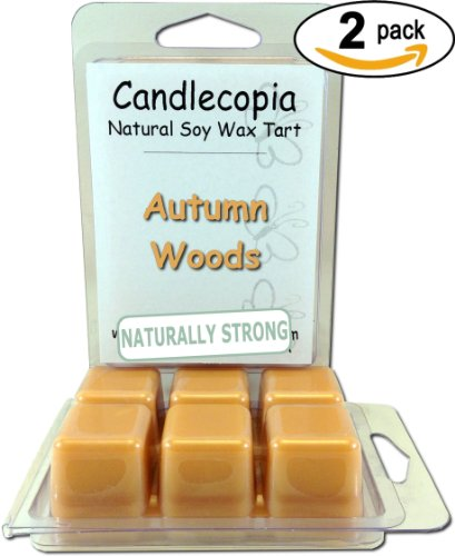 Candlecopia Autumn Woods 6.4 Oz Scented Wax Melts - A Walk In The Woods With The Smell Of Crisp Leaves Under Foot And Fresh Pine With Berries Falling Off The Trees - 2-Pack Of Naturally Strong Scented Soy Wax Cubes Throw 50+ Hours Of Fragrance When Melted