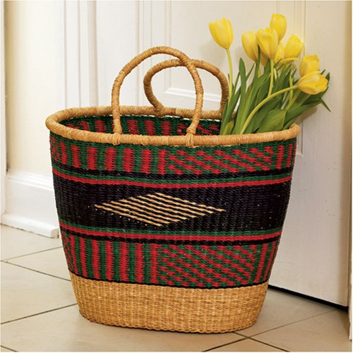 How To Hand Weave A Basket : Colorful grass market basket african hand woven tote carry
