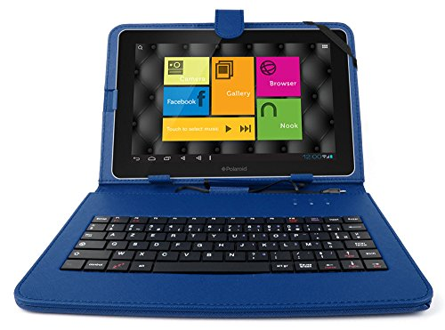 DURAGADGET FRENCH AZERTY Durable Blue Faux Leather Protective Case / Cover With Micro USB Keyboard & Built In Stand For Polaroid 10.1