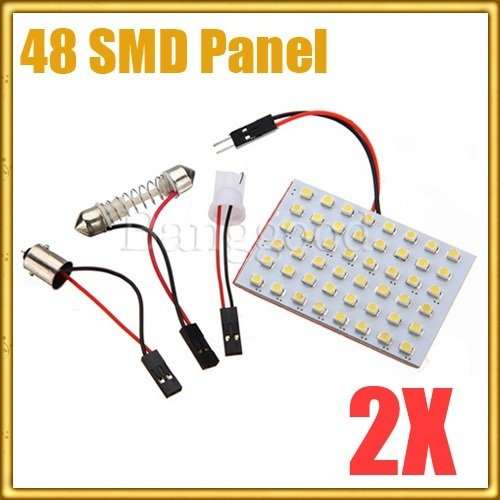 2x White Car Interior 48 SMD LED Light Lamp Panel T10 Dome Bulb Ba9s Adapter 12v