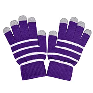 Ecsem Knit Stripe Touchscreen Gloves   Winter Smart Touch Gloves For iPhone Smart Phones Tablets and Touchscreen Electronic Devices (Purple)