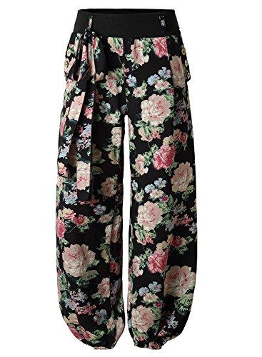 BAISHENGGT Pantaloni Casuali Lunghe Gambe Diritte Harem Pants - Donna Nero Foreale Medium