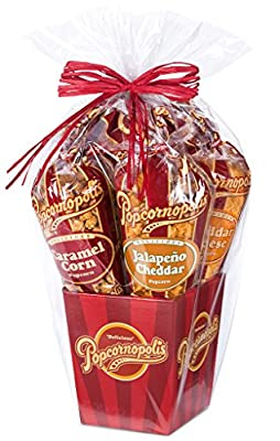 Popcornopolis Gourmet Popcorn 5 cone Gift Basket - Classic