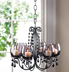 BLACK hanging Crystal chandelier CANDELABRA Candle Holder Wedding Centerpiece