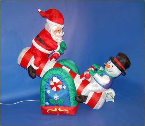 5' Airblown Inflatable Santa Claus And Snowman On Seesaw Lighted Christmas Yard Art Decoration front-693147