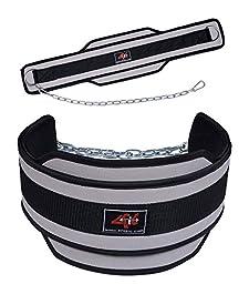 4Fit Weight Lifting Belt, Neoprene Belt Exercise Belt Heavy Chain Belt-Gray