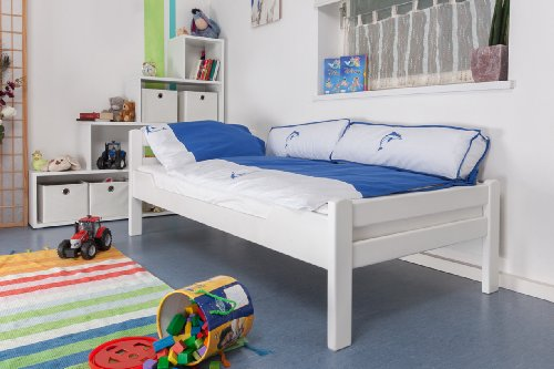 """Lit pour enfant/adolescent """"Easy Sleep"""" K1/2n, en hêtre massif peint en blanc - Dimensions: 90 x 190 cm"""