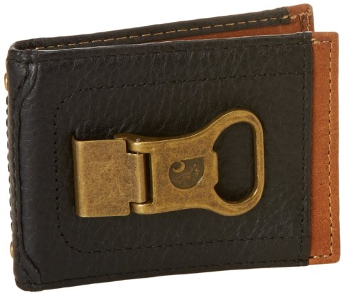 Carhartt Men's Long Neck Wallet With Bottle Opener Money Clip, Black/Tan, One Size (Money Clip And Bottle Opener compare prices)