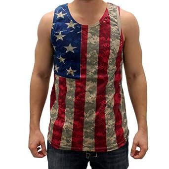 Digital Camo American Flag Tank Top (Small)