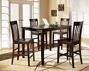 Brown 5 Piece Counter Height Dining Set Table And Chairs Table