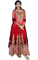SK Creation Fashionable Peach Maroon Satin Chiffon Shilpa Shetty Anarkali Dress