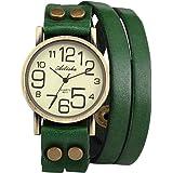 Ailisha Lady Women Green Wrap Leather Strap Bracelet Bangle Analog Quartz Watch WAA391