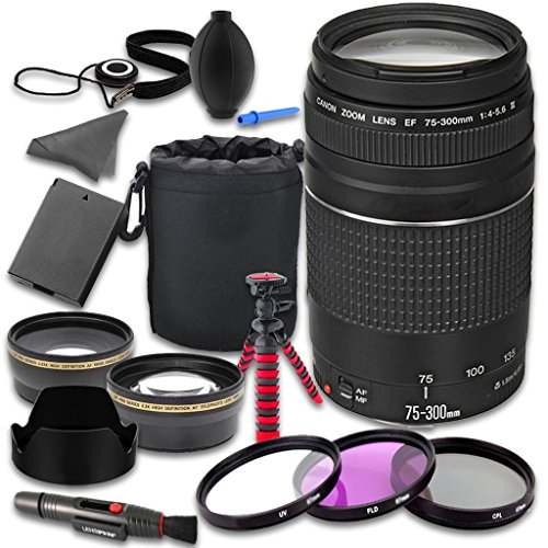 Canon EOS Rebel T5 T6 DSLR Camera Accessories Kit with Canon EF 75-300mm f/4-5.6 III Lens + 2.2x Telephoto Lens + 0.43x Wideangle Lens + Lens Bag + Extra Battery + 3 PC Filter Kit + Tripod (Filming Accesories compare prices)
